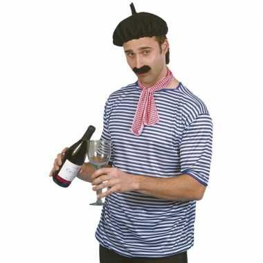 2x stuks fransman verkleed kostuum shirt/kostuum volwassenenen