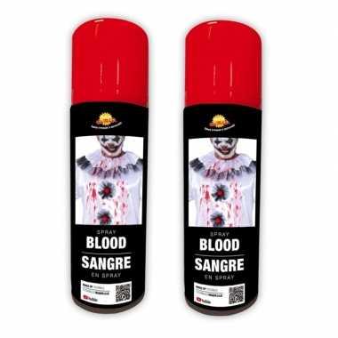 2x stuks kunstbloed spray lichaam kostuum 75 ml