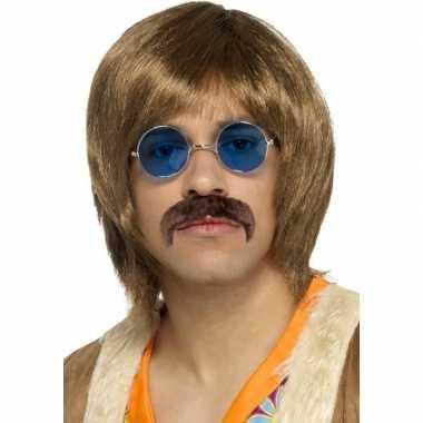 Abba heren verkleed pruik, snor bril kostuumje heren