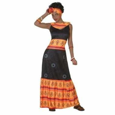 Afrikaanse jurk verkleed kostuum zwart/oranje dames