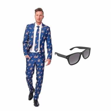 Amerikaanse vlag heren kostuum maat 52 (xl) gratis zonnebri