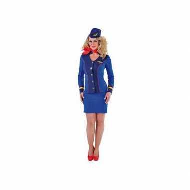 Blauw stewardessen kostuum dames