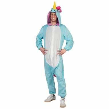 Blauwe eenhoorn dieren onesie/kostuum heren