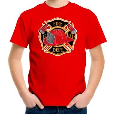 Brandweer logo t shirt / kostuum rood kinderen
