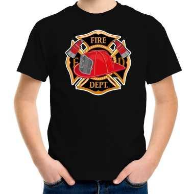 Brandweer logo t shirt / kostuum zwart kinderen