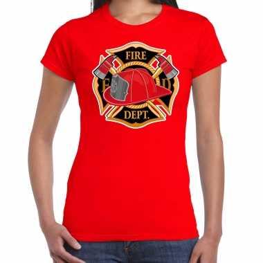 Brandweer logo verkleed t shirt / kostuum rood dames