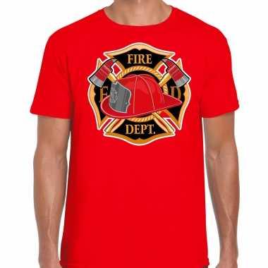 Brandweer logo verkleed t shirt / kostuum rood heren