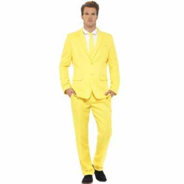 Carnavalskostuum heren kostuum geel