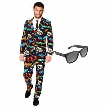 Comic heren kostuum maat 54 (xxl) gratis zonnebril