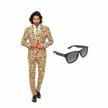 Confetti heren kostuum maat 54 (xxl) gratis zonnebril