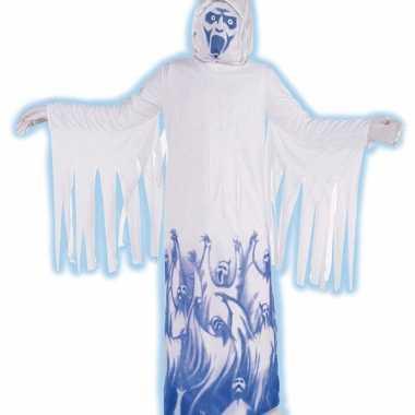Demonen kostuum wit blauw
