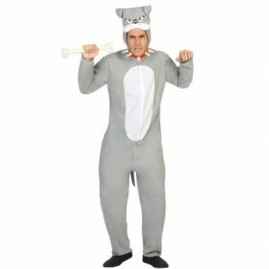 Dierenpak pit bull hond verkleed kostuum grijs volwassenen