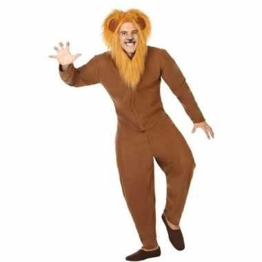 Dierenpak verkleed kostuum bruine leeuw volwassenen
