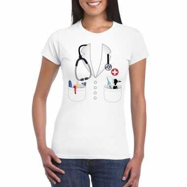Doktersjas kostuum t shirt wit dames