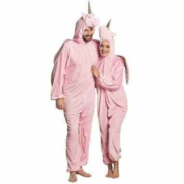 Eenhoorn dieren onesie/kostuum volwassenen roze