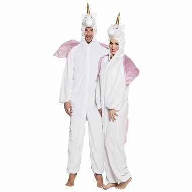 Eenhoorn dieren onesie/kostuum volwassenen wit
