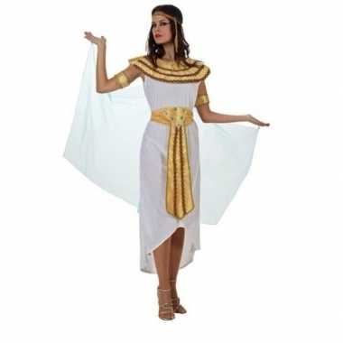 Egyptische farao cleopatra verkleed kostuum/jurk wit dames