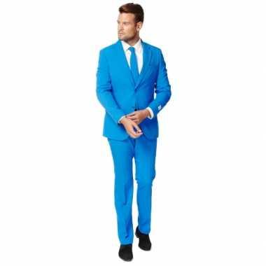 Fel blauw kostuum pak heren