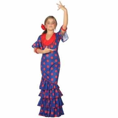 Flamenco danseres kostuum blauw rood