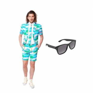 Flamingo zomer heren kostuum maat 50 (l) gratis zonnebril
