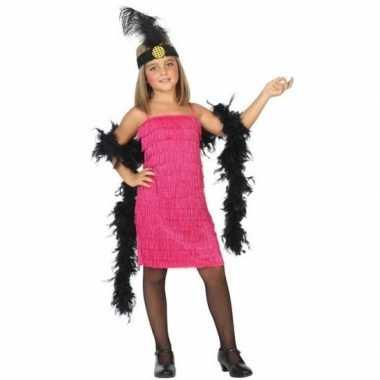Flapper franje verkleed kostuum/jurkje roze kinderen