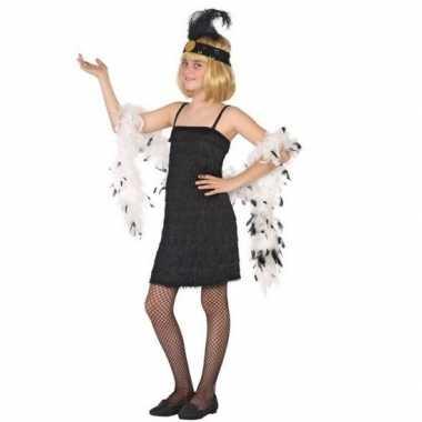 Flapper franje verkleed kostuum/jurkje zwart kinderen