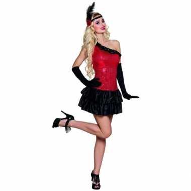 Flapper kostuum jurkje rood zwart