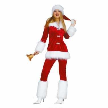 Fluweel kerstdames kostuum