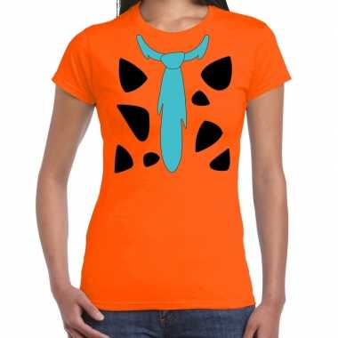 Fred holbewoner kostuum t shirt oranje dames