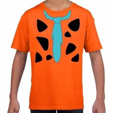 Fred holbewoner kostuum t shirt oranje kinderen