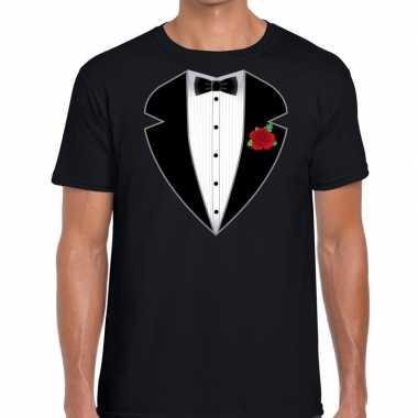 Gangster / maffia pak kostuum t shirt zwart heren