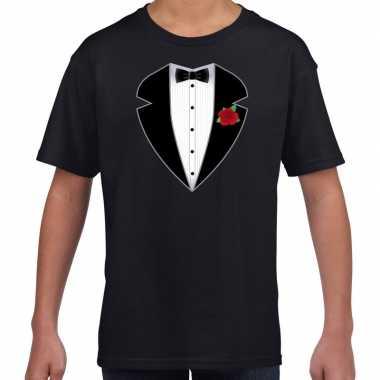 Gangster / maffia pak kostuum t shirt zwart kinderen