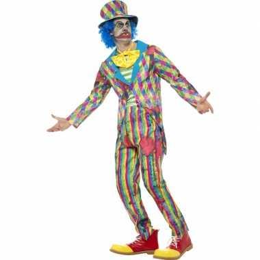 Gestreept halloween clowns kostuum heren