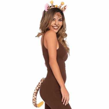 Giraffe verkleedaccessoires kostuum 2 delig