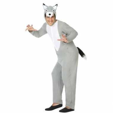 Grijze wolf dieren verkleed kostuum/onesie volwassenen