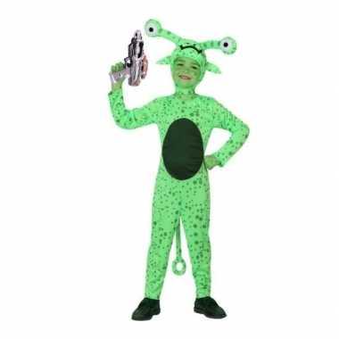 Groen alien kostuum inclusief space gun maat 128