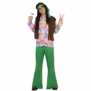 Groen/bruine hippie/flower power kostuum heren