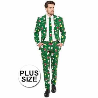 Grote maat heren kostuum groen kerst