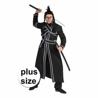 Grote maat zwart samoerai verkleed kostuum heren