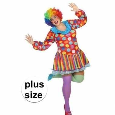 Grote maten clown verkleed jurk/kostuum dames