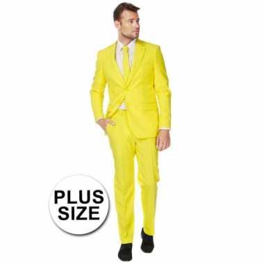 Grote maten heren kostuum geel