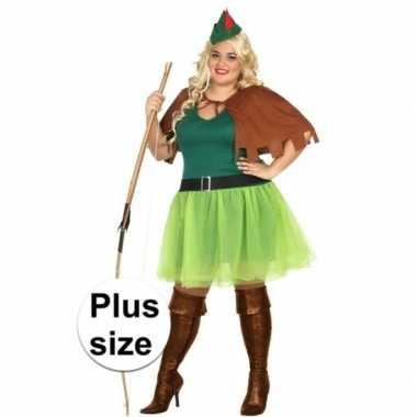 Grote maten robin hood kostuum 4 delig dames
