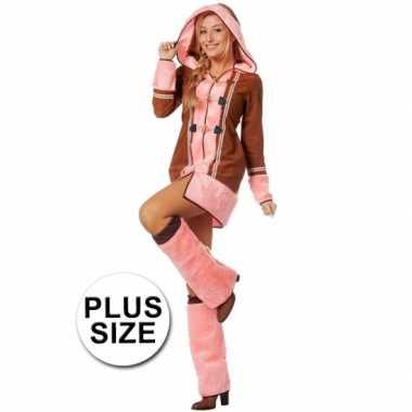 Grote maten roze eskimo kostuum dames