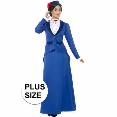 Grote maten victoriaanse kinderjuffrouw kostuum dames