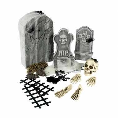 Halloween 24 delige kerkhof kostuum grafstenen