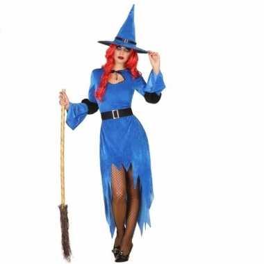 Halloween blauwe heksen kostuum dames