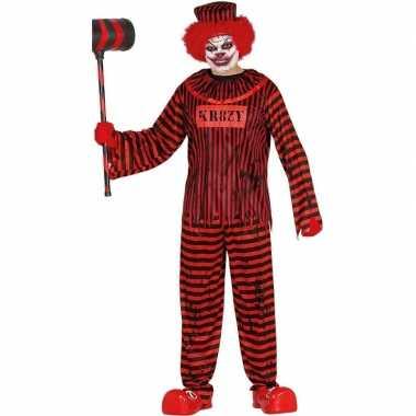 Halloween clown gevangene verkleed kostuum rood/zwart heren