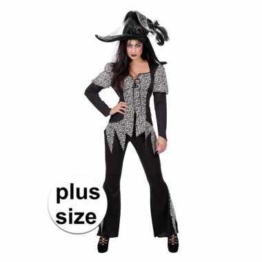 Halloween grote maat zwart/wit heksen kostuum dames