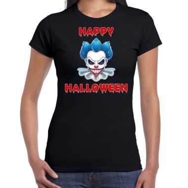 Happy halloween blauwe halloween clown verkleed t shirt zwart dames