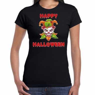 Happy halloween groene halloween joker verkleed t shirt zwart dames
